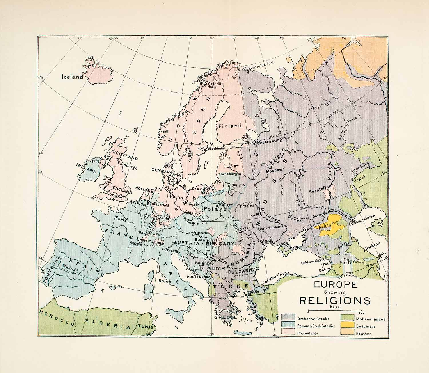 Map Of France Italy And Spain.1904 Lithograph Map Europe Religion Spain England France Italy Russia Xgwa6