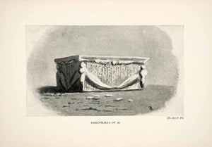 1898 Print Sarcophagus Ai Hieroglyphics Ancient Egypt Egyptian Tomb XGWA8