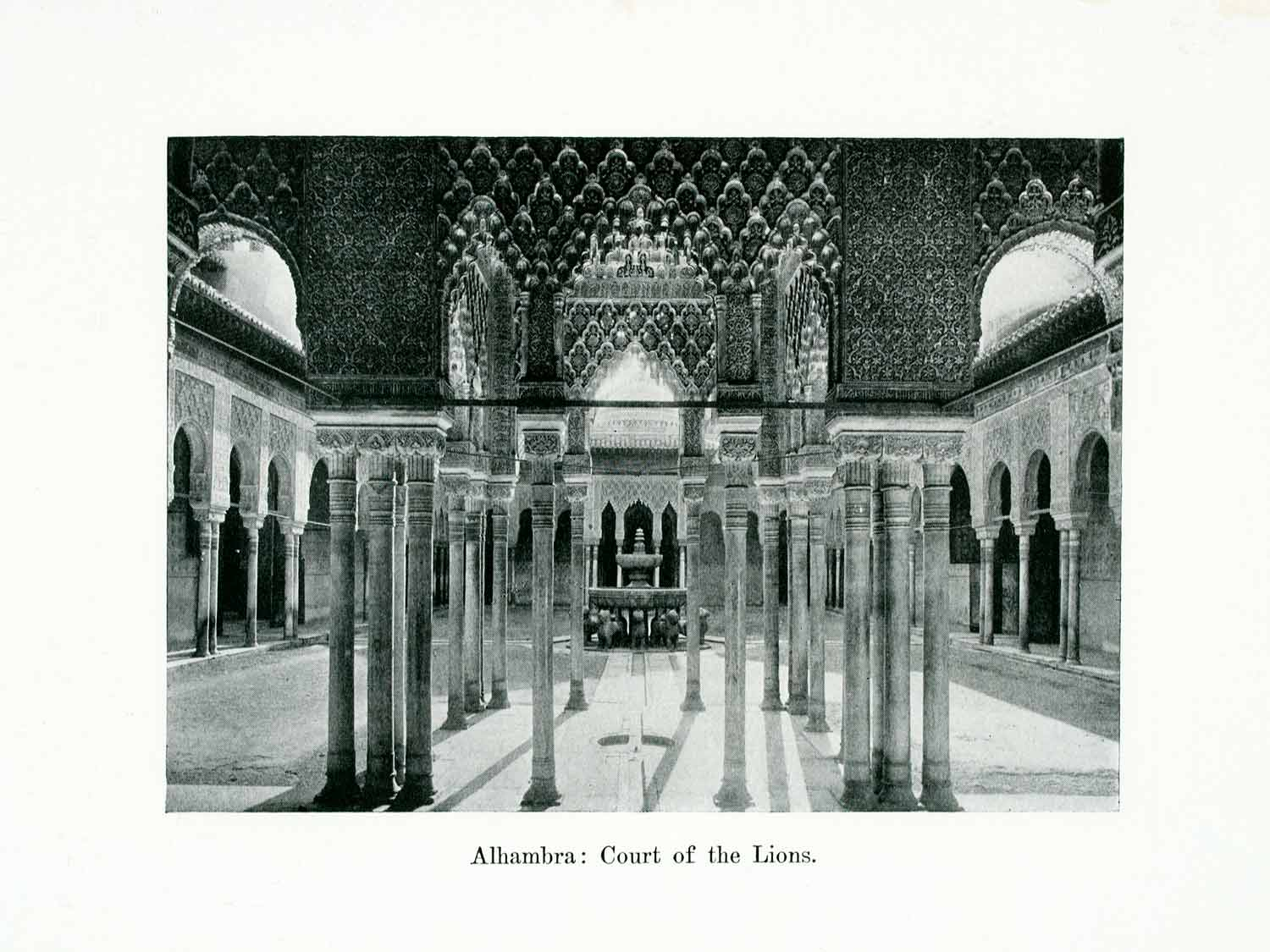 1924 Print Alhambra Palace Fortress Granada Andalusia Spain Court Lions XGWA9
