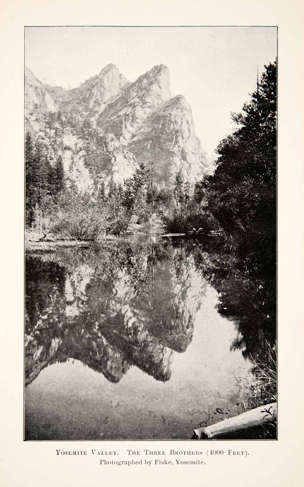 1902 Print Yosemite Valley California Three Brothers Landscape Mountain XGWB7