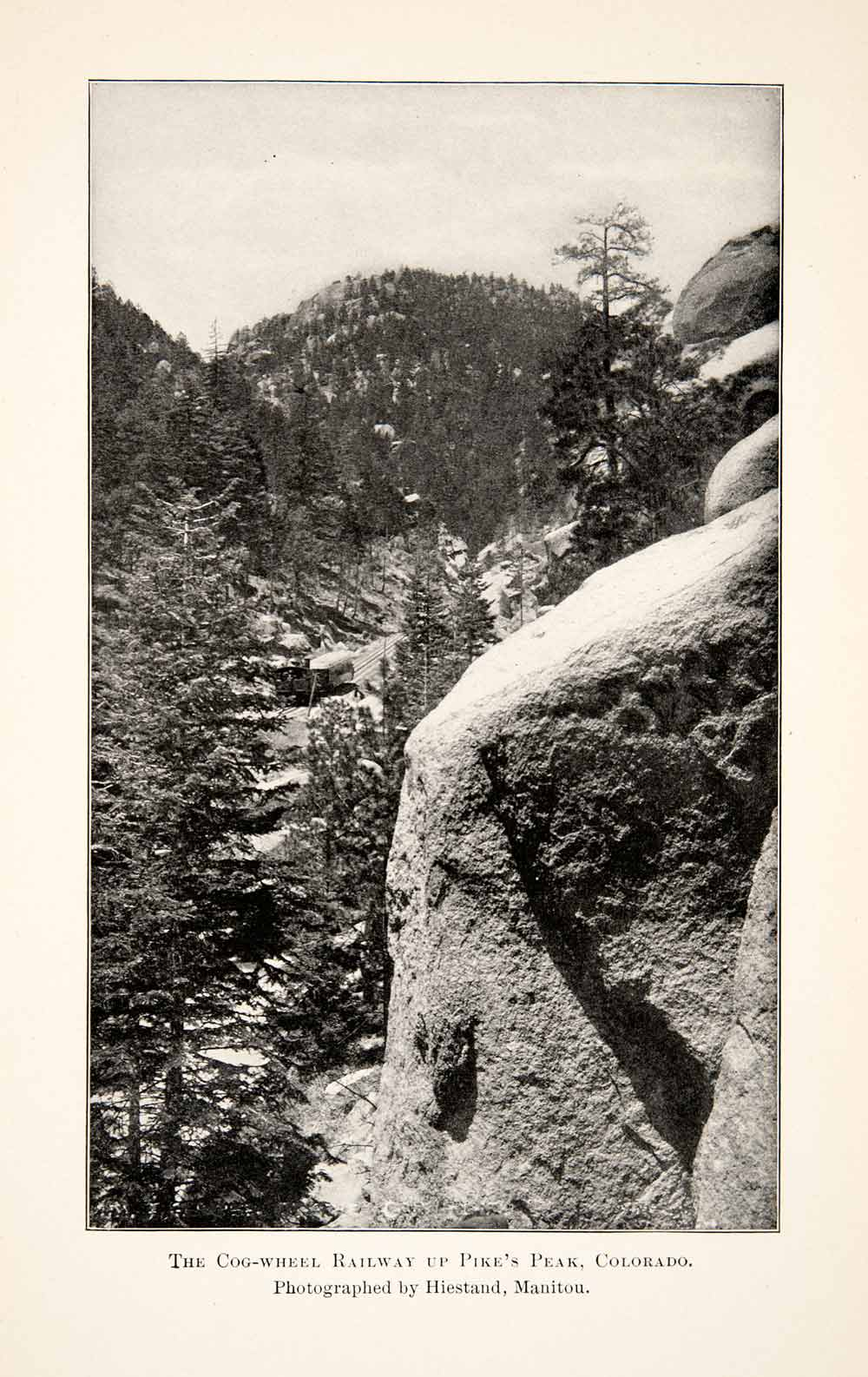 1902 Print Cog-Wheel Railway Pikes Peak Colorado Rocky Mountain Landscape XGWB7