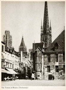 1944 Photogravure Rouen Cathedral Towers Spire Church Gothic France Square XGWB8