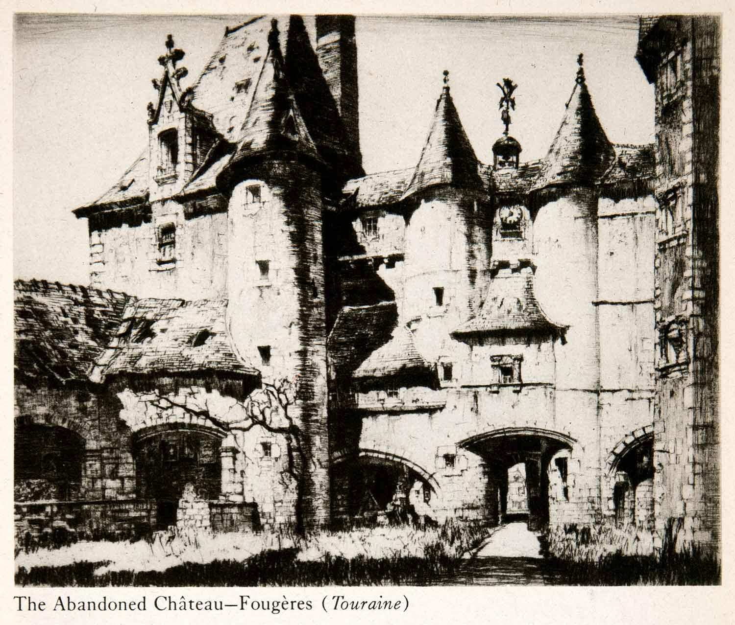 1944 Photogravure Chamberlain Chateay Fougeres Brittany France Ille XGWB8