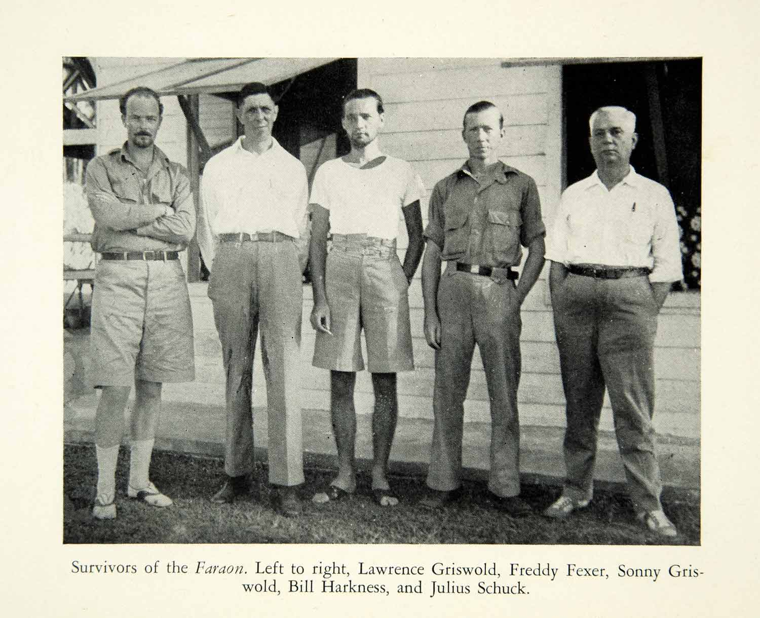 1937 Print Survivors Faraon Ship Lawrence Griswold Freddy Fexer Harkness XGWC1