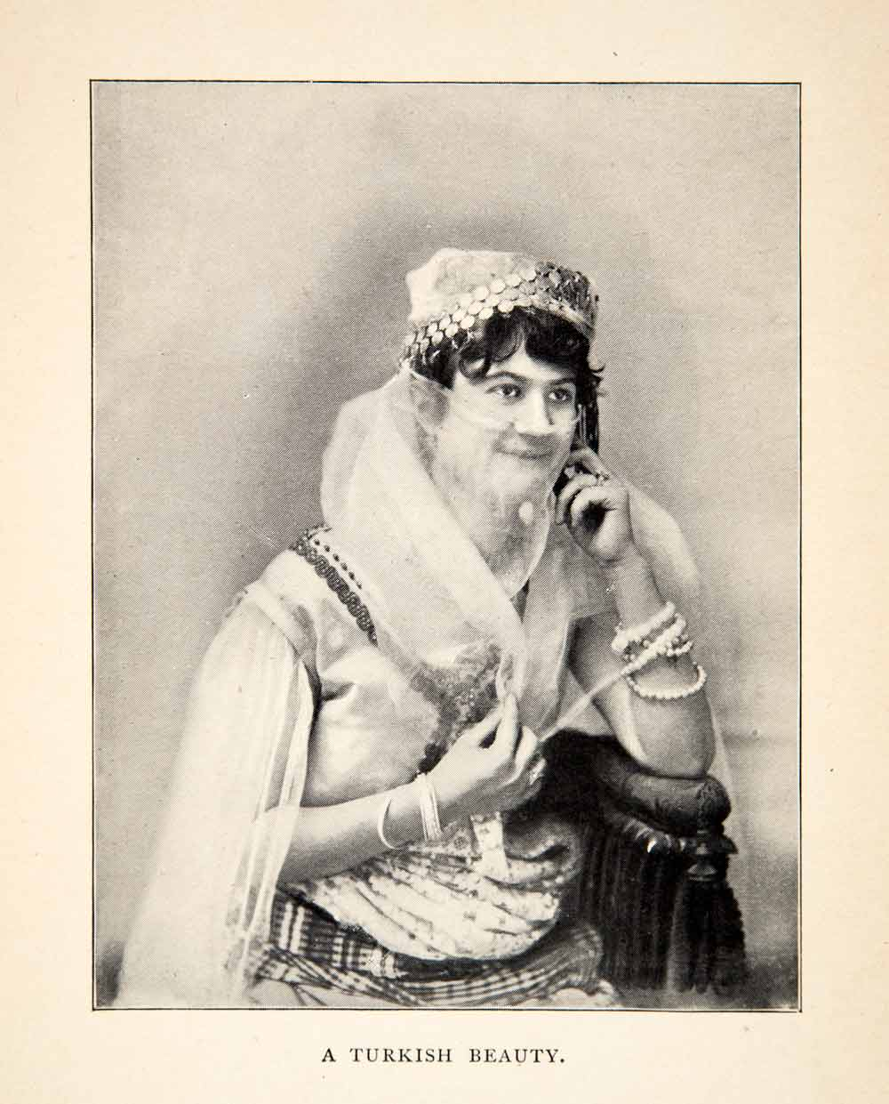 1900 Print Turkey Veil Jewelry Costume Portrait Traditional Clothing XGWC7
