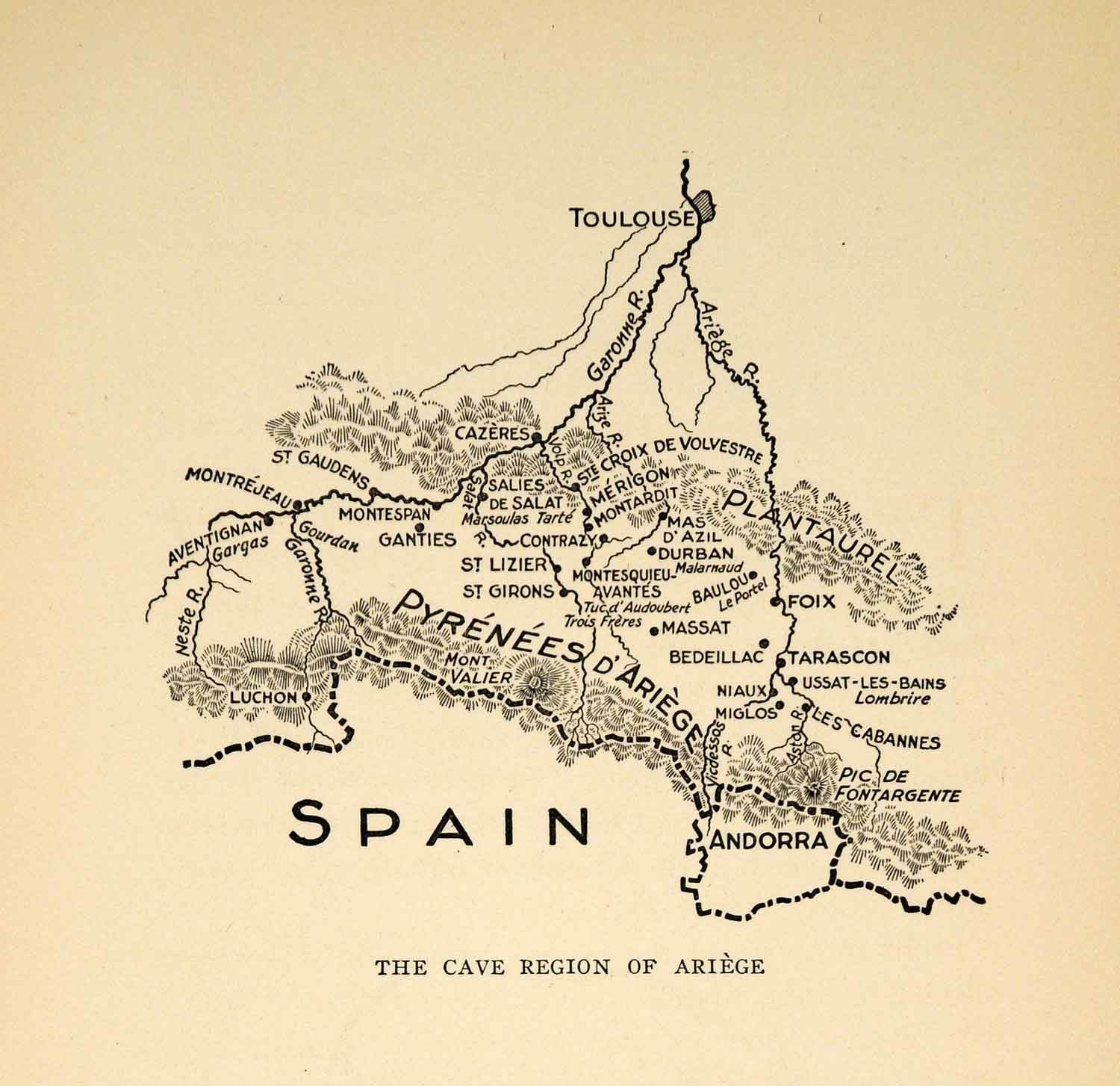 Map Of Spain France And Andorra.1927 Print Map Spain France Ariege Pyrenees Andorra Toulouse Cave Xgx3