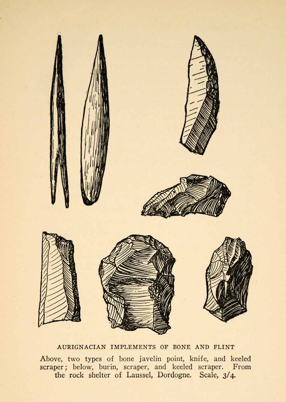 1927 Print Aurignacian Implements Tools Bone Flint Javeline Knife Scraper XGX3