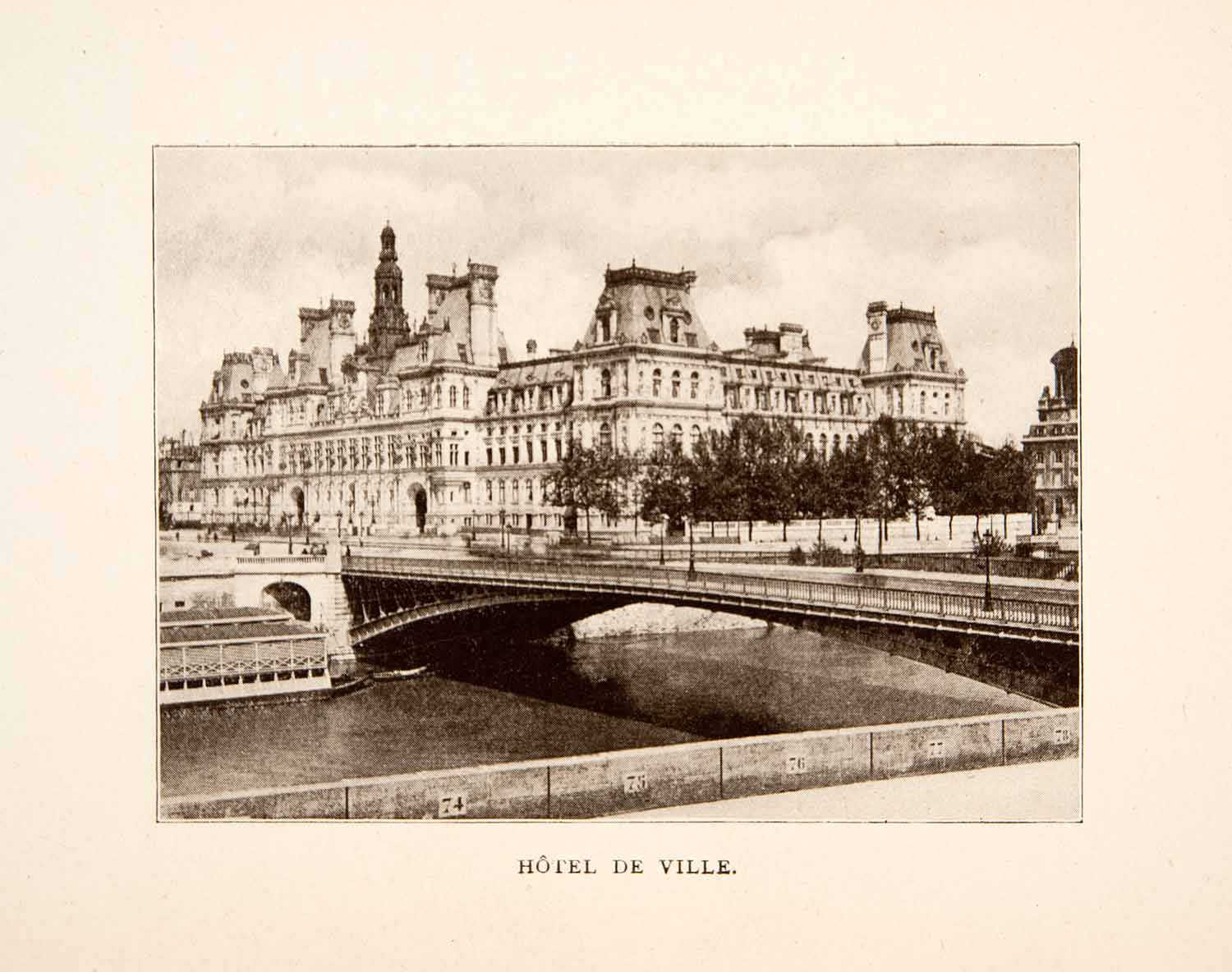 1907 Print Hotel de Ville Paris France Architecture River Bridge Historic XGXA5