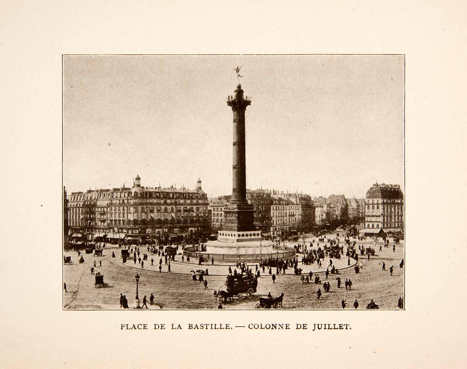 1907 Print Colonne Juillet July Column Place Bastille Paris France XGXA5