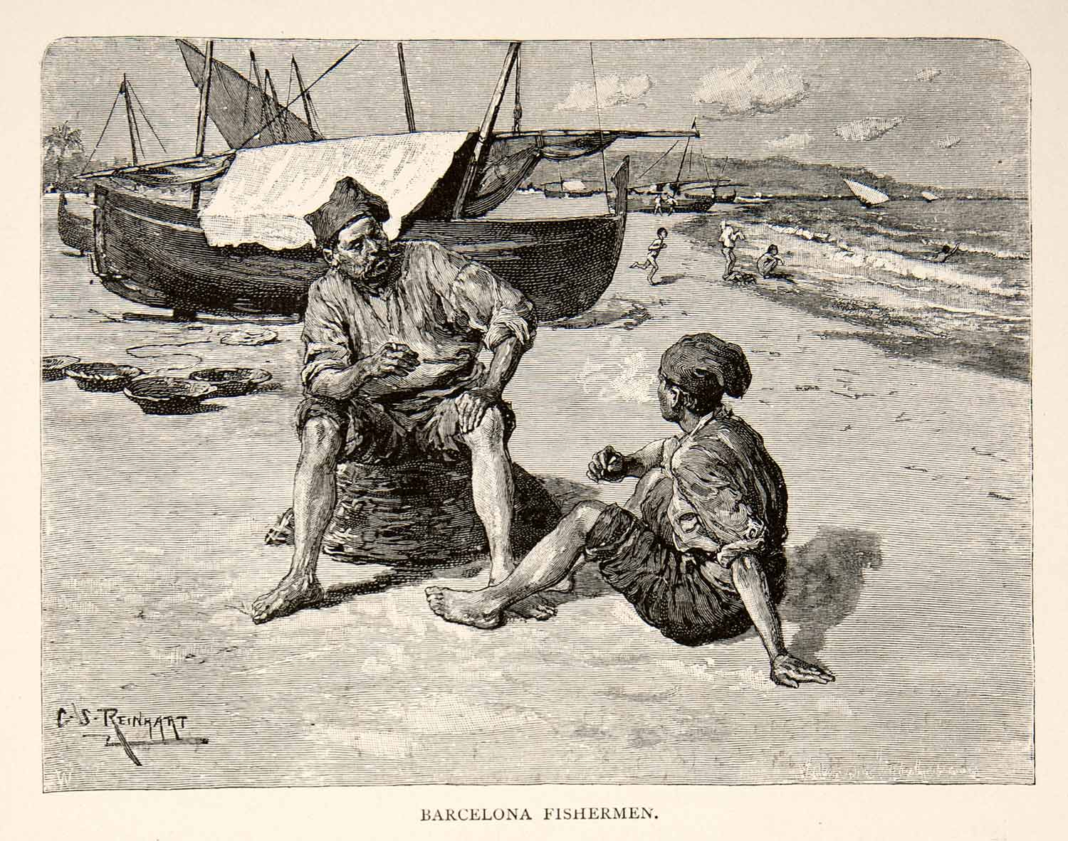 1883 Wood Engraving Barcelona Spain Fisherman Coast Boat Sail XGXB1