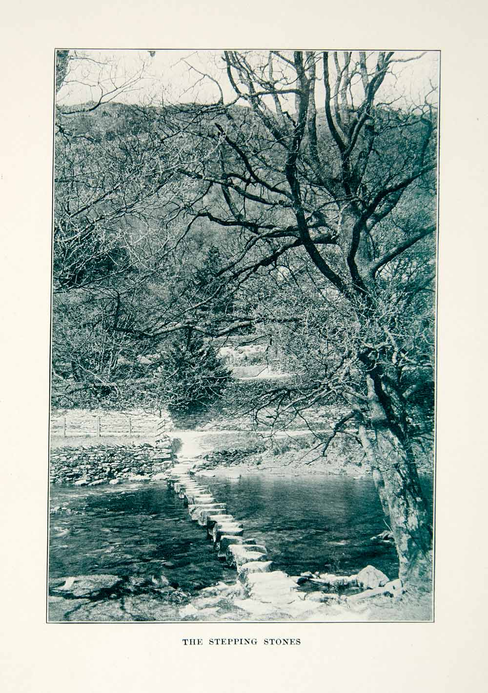 1914 Print Stepping Stones River Wilderness Nature Landscape Outdoors XGXC2