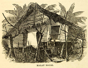 1869 Wood Engraving Malaysia Dwelling Native Ethnic Hut Ladder Tropic XGXC5