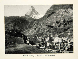 1947 Print Zermatt Matterhorn Visp Swiss Alps Cityscape Church Mountain XGXC8