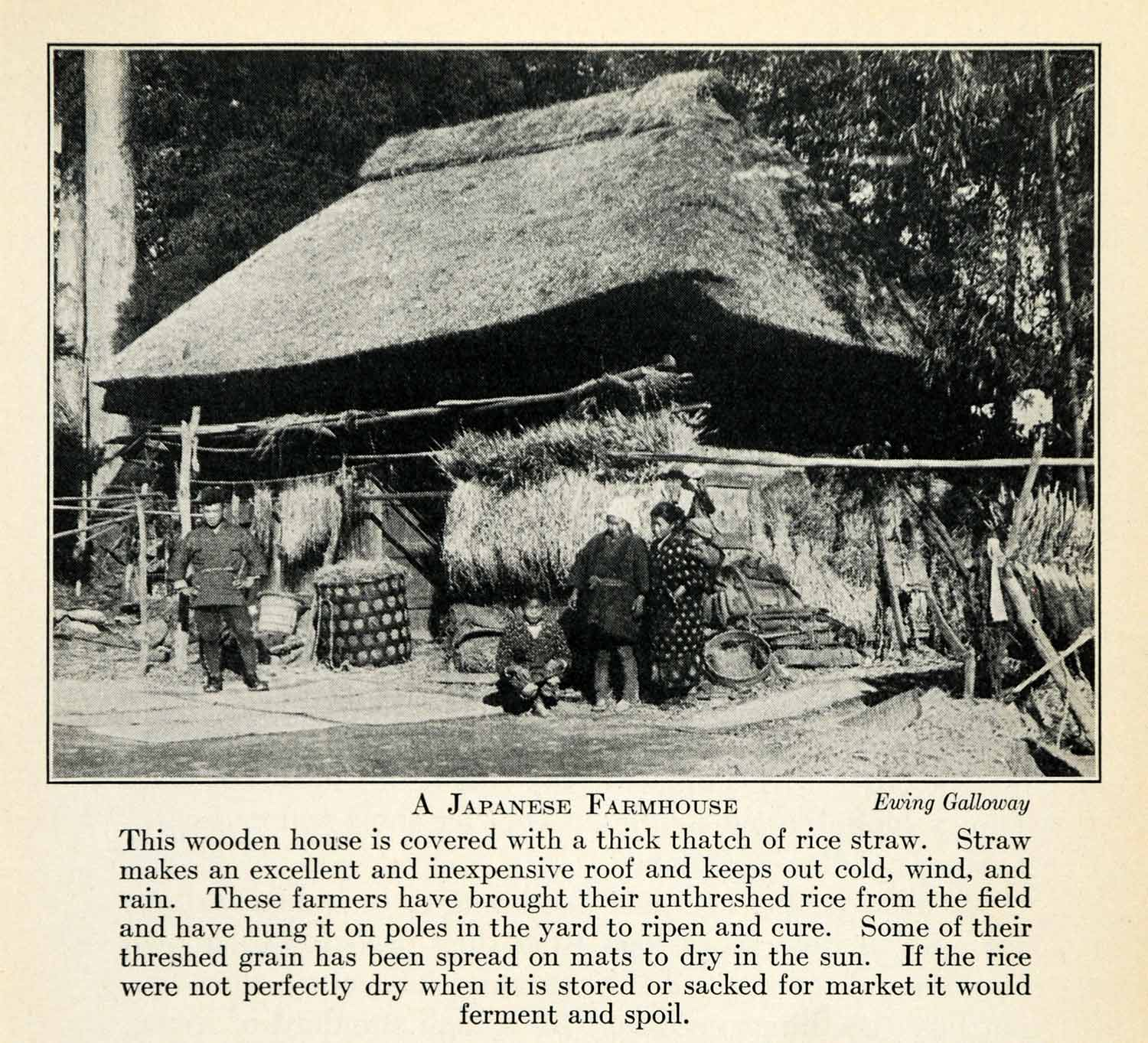 1937 Print Japan Asia Agriculture Farming Farmhouse Costume Rice Production XGY4