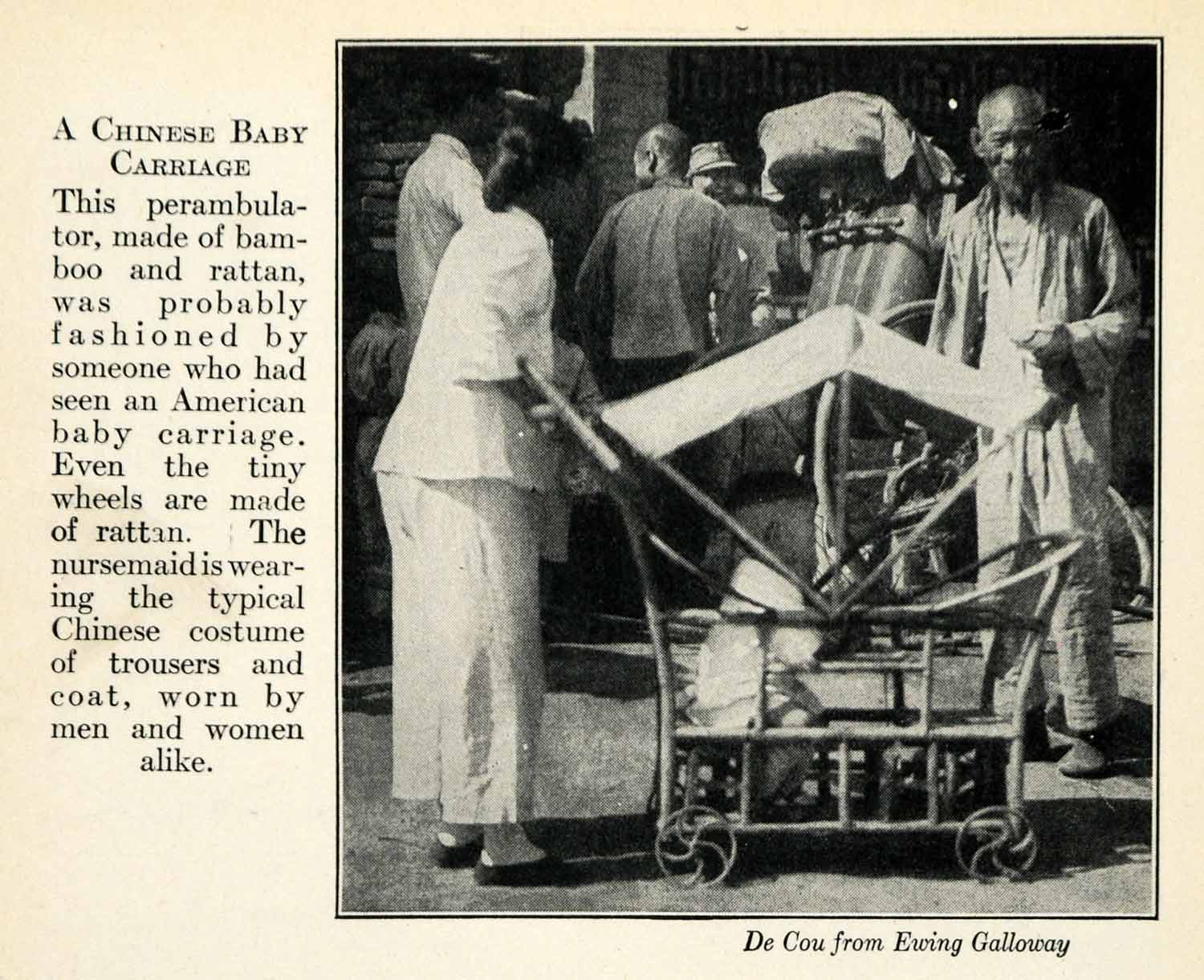 1937 Print China Asia Baby Child Carriage Stroller Perambulator Bamboo XGY4