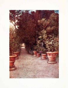 1905 Color Print Villa Ombrellino Florence Italy Tuscany Garden Goff Park XGYA2