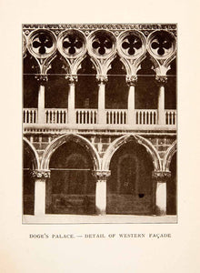 1907 Print Royal Doges Palace Architecture Detail Western Facade Venice XGYA4