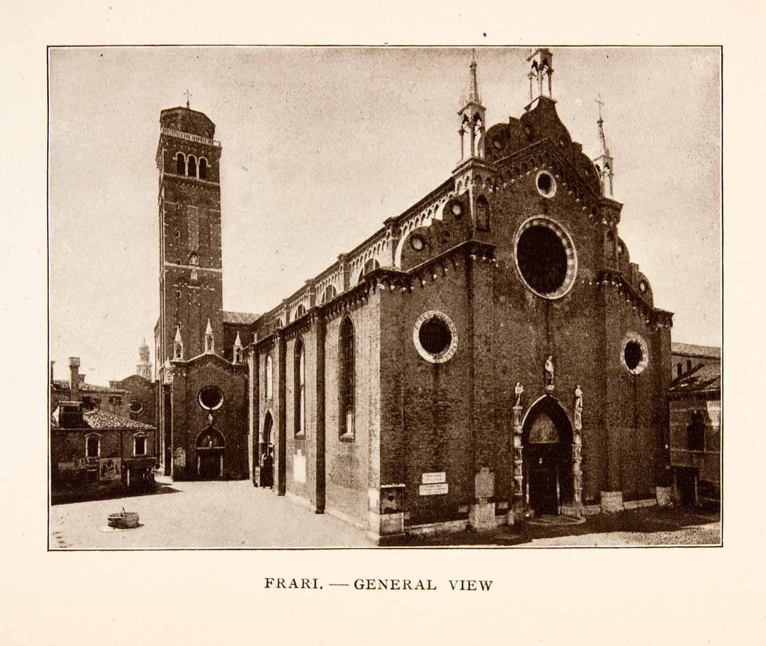 1907 Print Frari Church Venice Italy Belfry Bell Tower Campanile Historic XGYA4