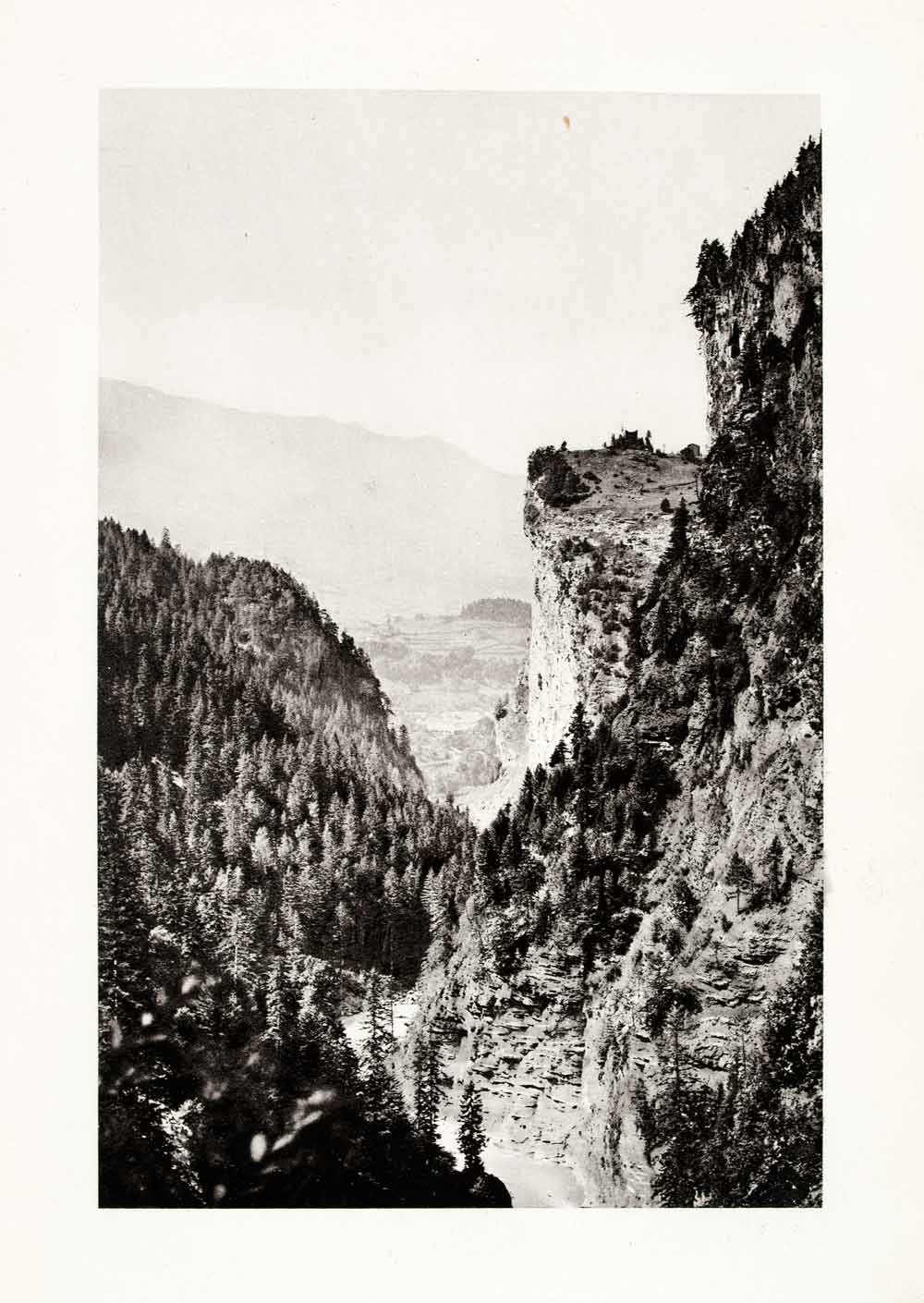 1899 Photogravure Viamala Switzerland Natural History Landscape Historic XGYA5