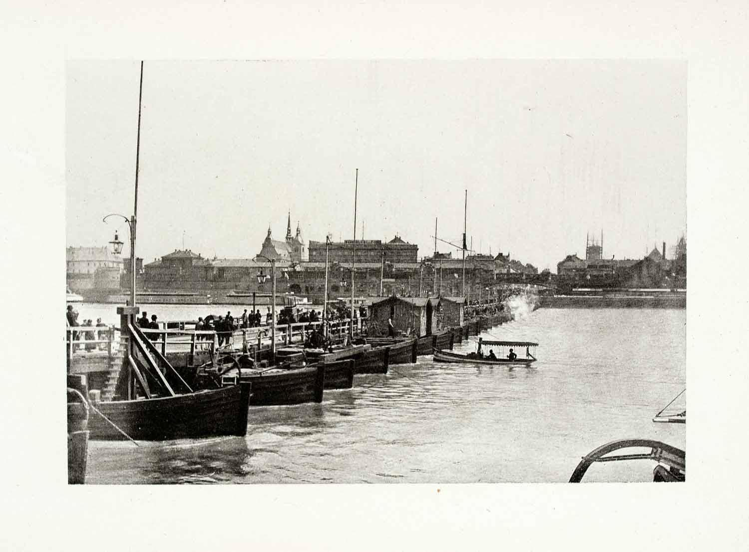 1899 Photogravure Cologne Germany Marine Boat Bridge Cityscape Historical XGYA5