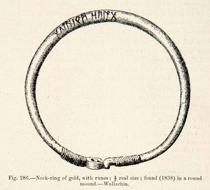 1889 Wood Engraving Neck-ring Gold Ruins Wallachia Viking Age XGYA7
