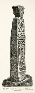 1889 Wood Engraving Runic Stone Collingham Yorkshire Viking Age XGYA7