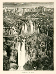 1876 Wood Engraving Tivoli Waterfalls Cascade Cascatelli Aniene River Rome XGYA9