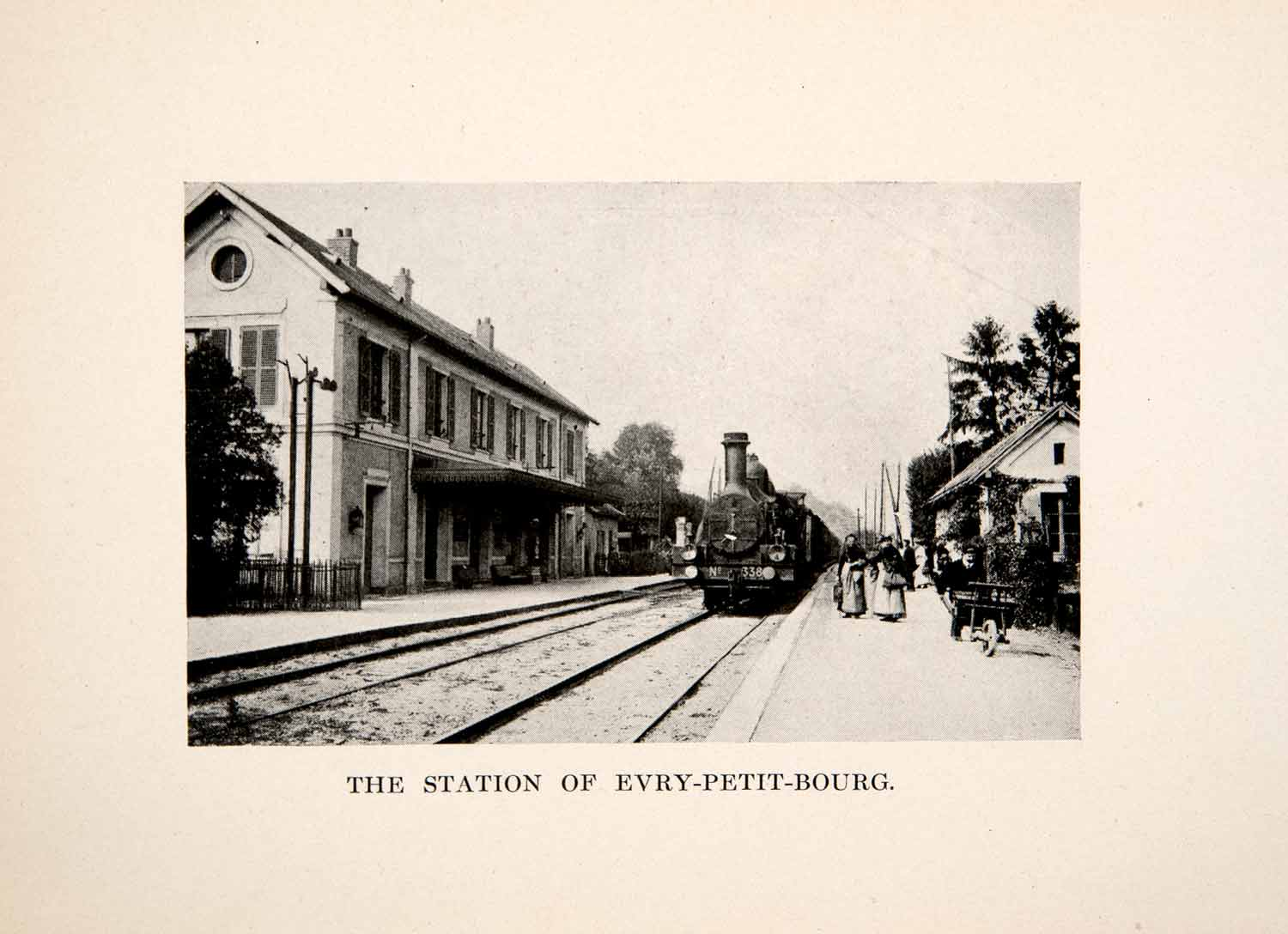 1915 Print Train Railway Station Evry-Petit-Bourg France Cityscape Travel XGYB2