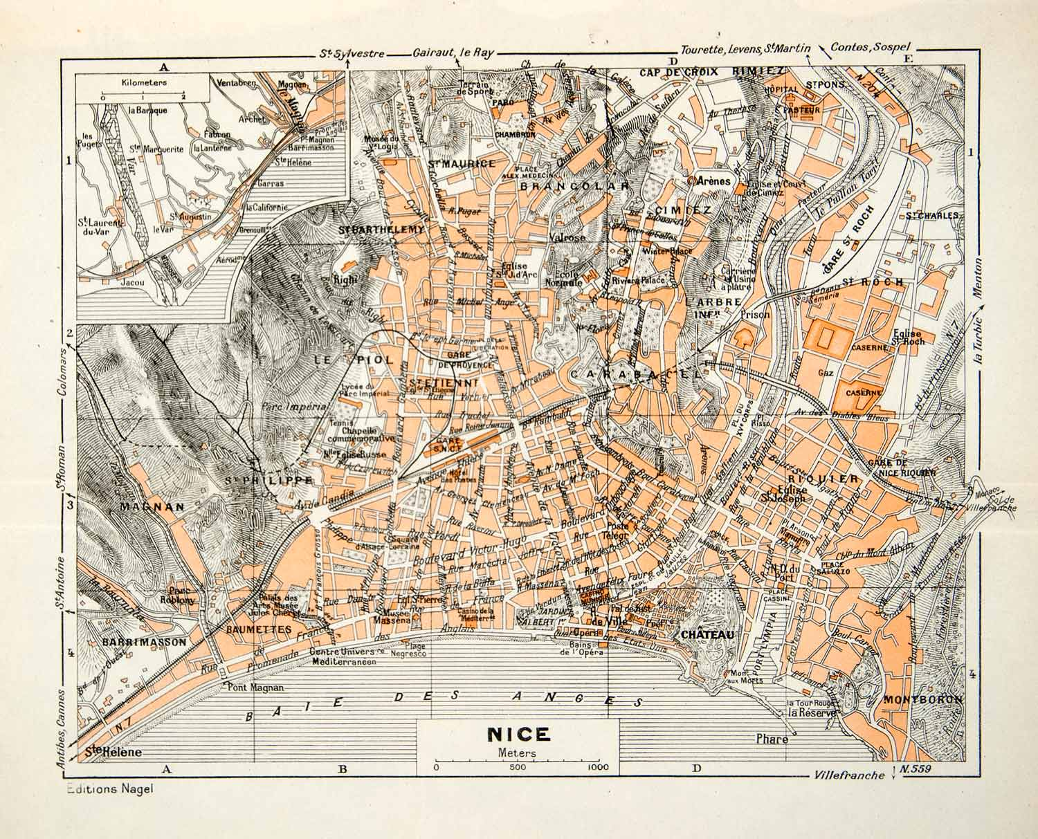 1949 Lithograph Vintage Street Map Nice France City Planning Civic – Streetmap France