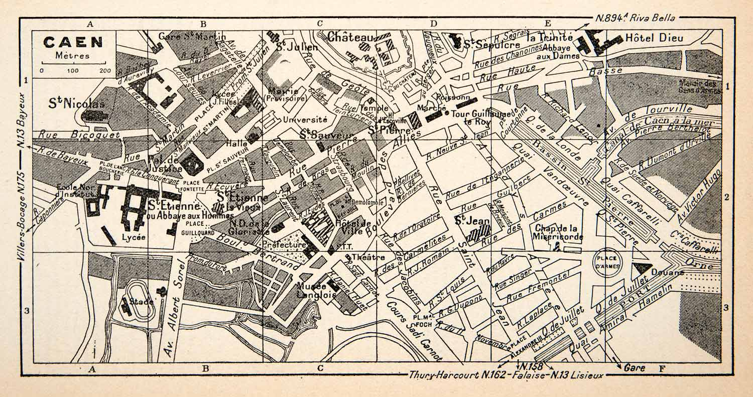 1949 Lithograph Vintage Street Map Caen France Landmarks City