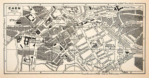 1949 Lithograph Vintage Street Map Caen France Landmarks City Planning XGYB4