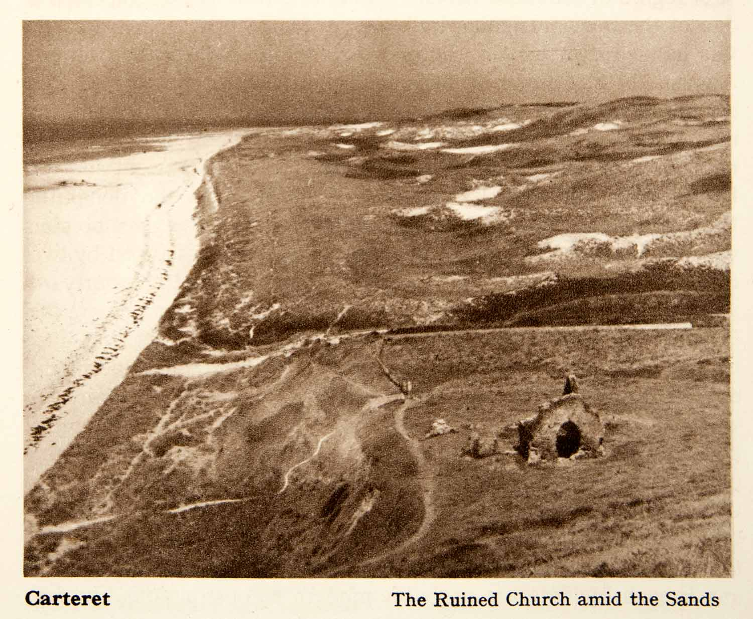 1950 Photogravure Normandy Carteret France Church Ruin Coast Beach Sea XGYB9