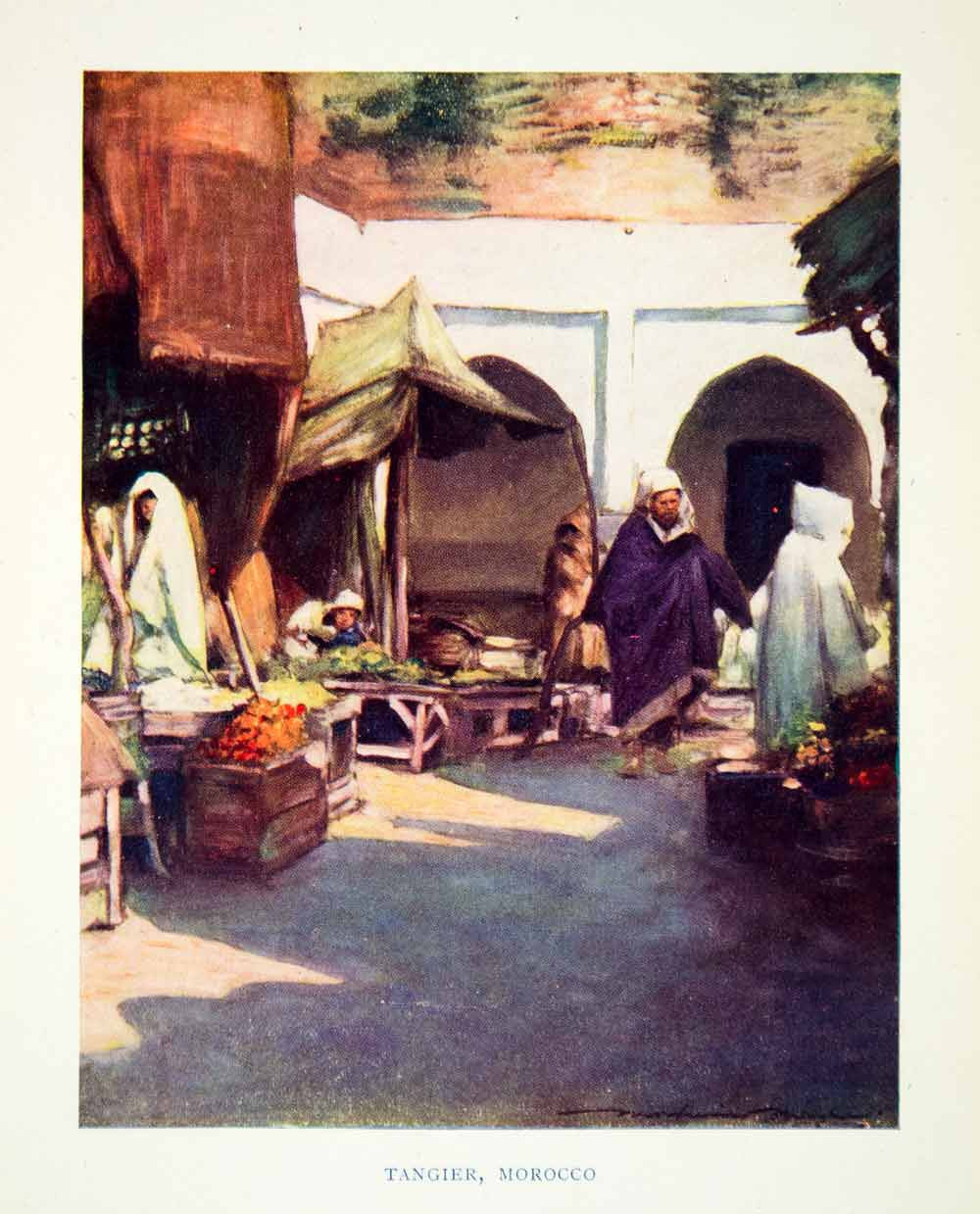1902 Print Cityscape Street Scene Tangier Morocco Market Goods Mortimer XGYC6 - Period Paper