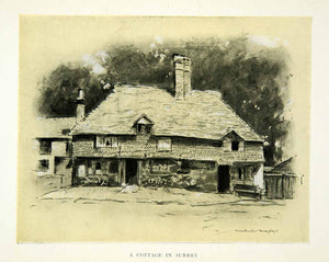 1902 Print Cottage Surrey England House Home Architecture Road Mortimer XGYC6