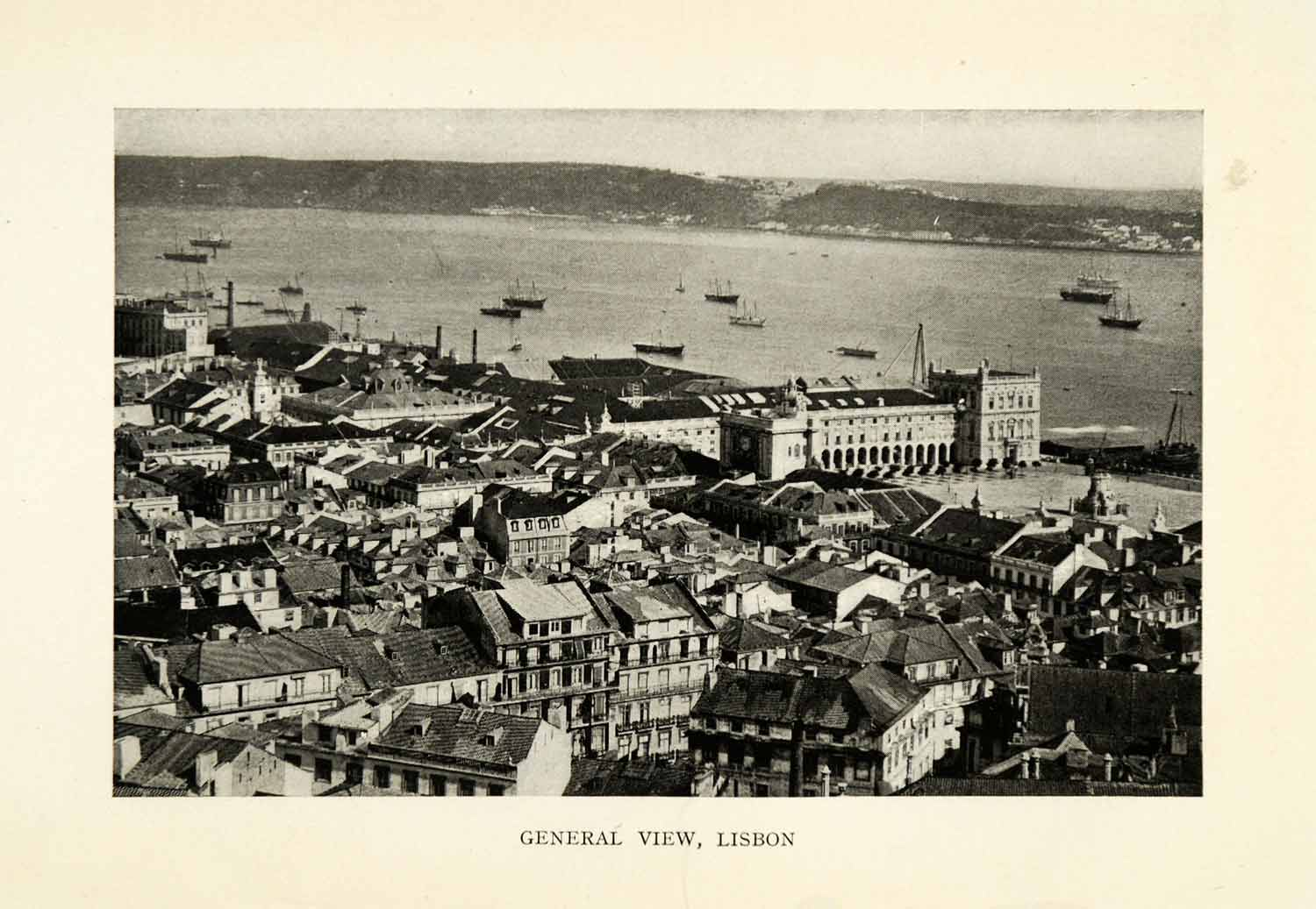 1915 Print Lisbon Portugal Birds Eye View Coastal Cityscape Historic Image XGZ2