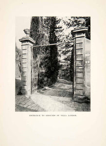 1905 Print Entrance Grounds Villa Landor Gate Florence Italy Historical XGZA9