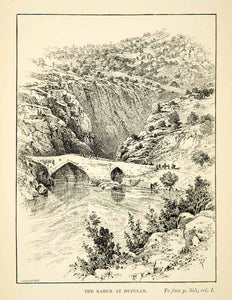 1891 Print Kuran Dupulan Mountain Bridge Landscape River Trees Pointed XGZC6