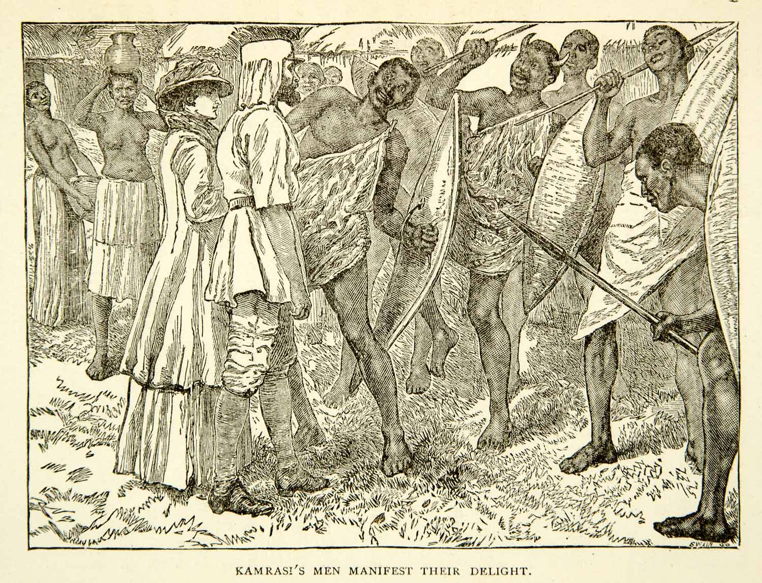 1884 Wood Engraving African Tribe Victorian Travel Indigenous Explorer XGZC7