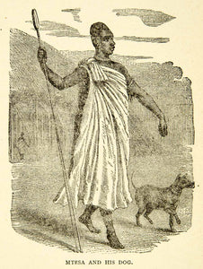 1884 Wood Engraving Mtesa King Uganda Portrait Dog Native African Spear XGZC7
