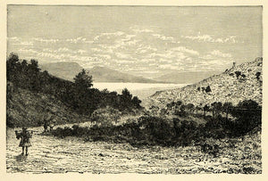 1890 Wood Engraving Bay Eleusis Sacred Road Geranian Mountains Landscape XHA1