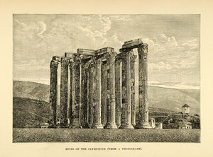 1890 Wood Engraving Olympieion Ruins Temple Pillars Columns Greece Olympian XHA1
