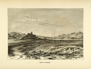 1890 Wood Engraving Megara Ancient City Greece Attica Athens Landscape XHA1