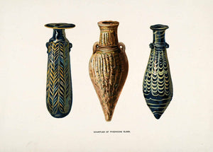 1904 Chromolithograph Phoenician Glass Blowing Vase Trade Neck Body Canaan XHA4