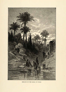 1904 Print Canal Omar Arab Women Palm Middle East Water-Carrier Palm Art XHA4