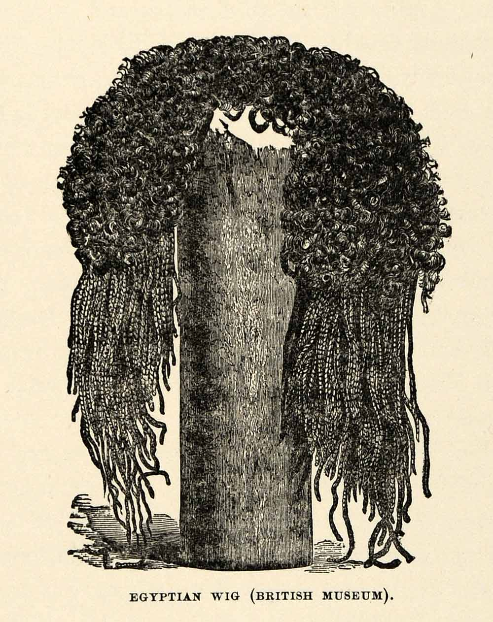 1904 Print Egypt Wig Hair Fashion Costume Headpiece Headdress Artifact XHA4