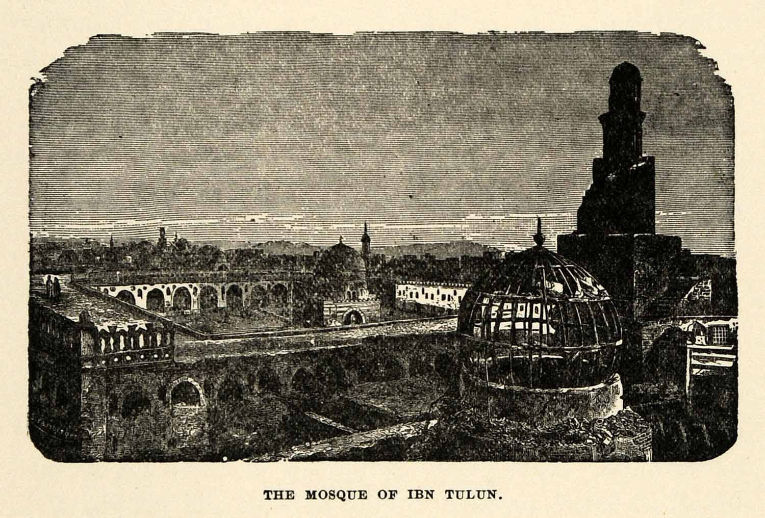 1904 Print Mosque Ahmad Ibn Tulun Minaret Dome Architecture Islam Courtyard XHA4