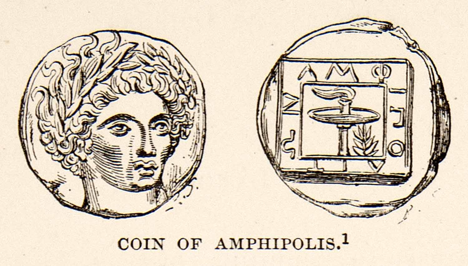 1890 Print Art Ancient Greek Coins Amphilipolis Greece Currency Artifact  XHB2