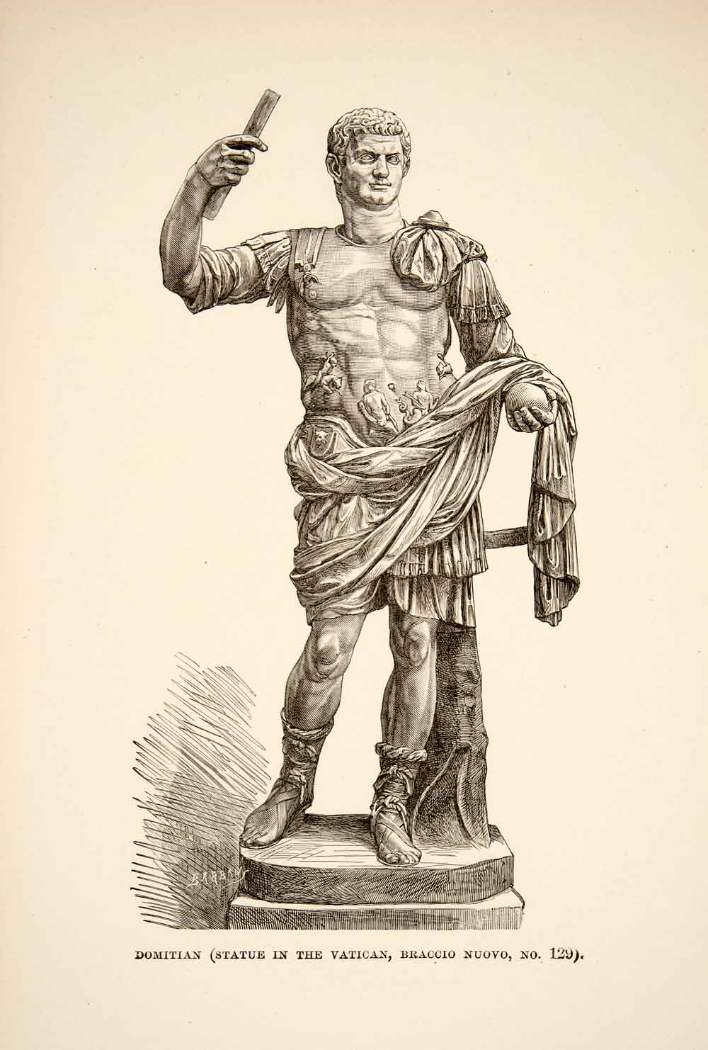 1890 Wood Engraving (Photoxylograph) Roman Emperor Domitian Statue XHB3