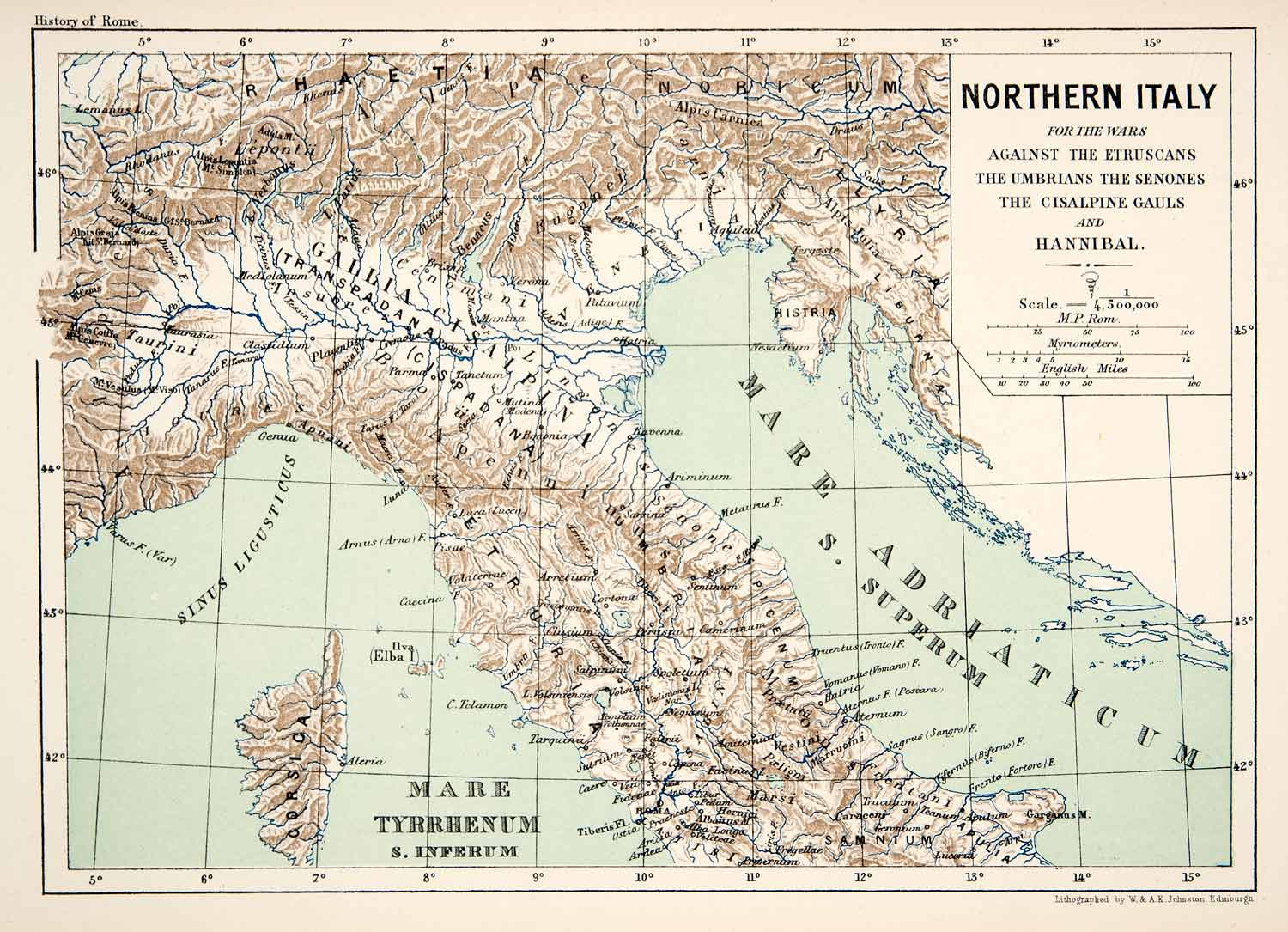 1890 Lithograph Map Northern Italy Hannibal Etruscan Umbro Cisalpine ...