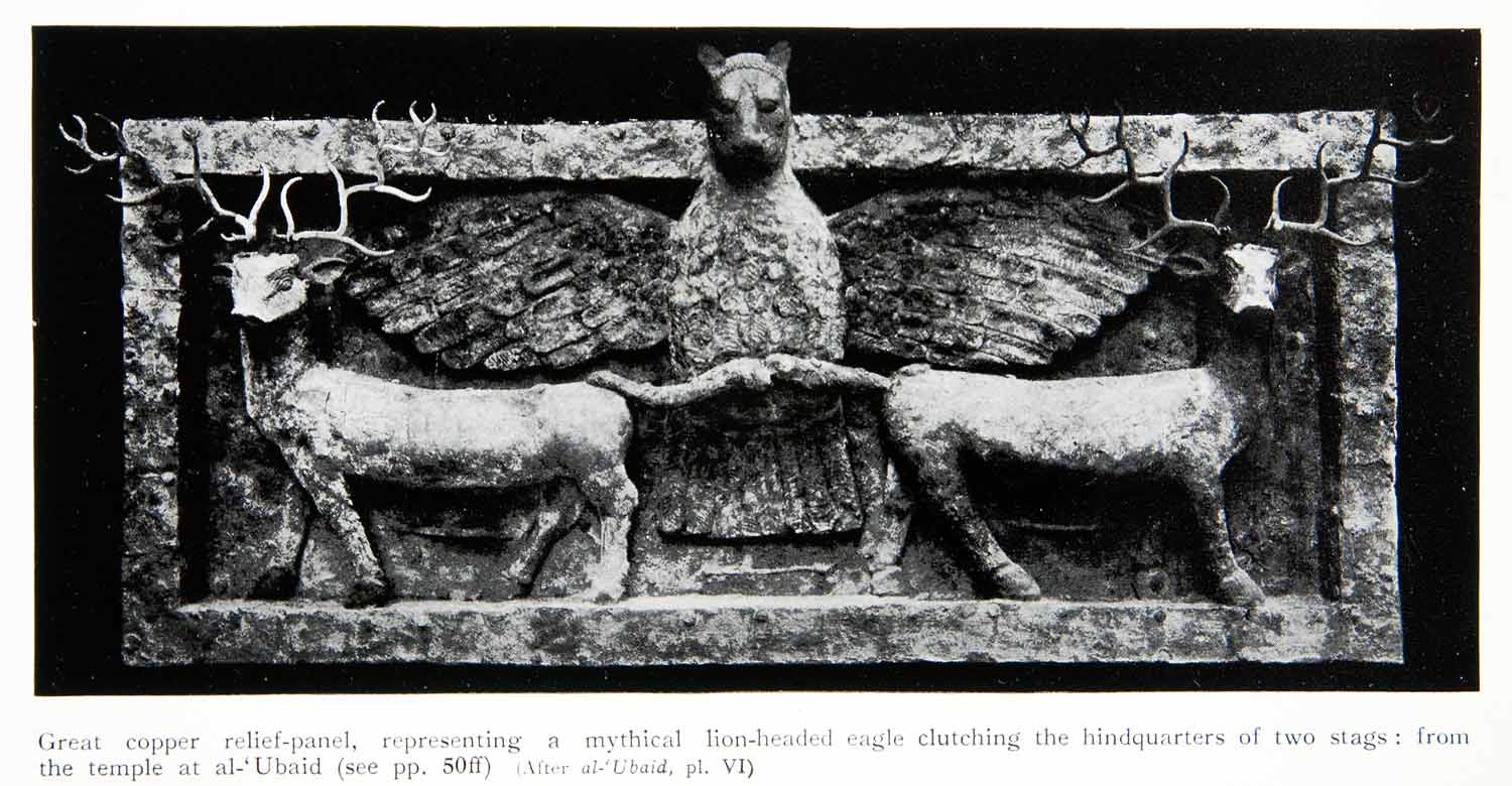 1929 Print Copper Relief Sculpture Panel Mythical Lion-Head Eagle Deer XHB6